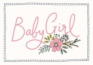 Greeting Cards - Bees Knees Baby Girl Pink Flower Card - Image 1