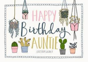 Greeting Cards - Auntie Birthday Card - Plants - Succulents - gardener - gardening - Image 1