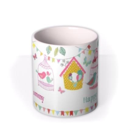 Mugs - Easter Bird Cages Personalised Mug - Image 3