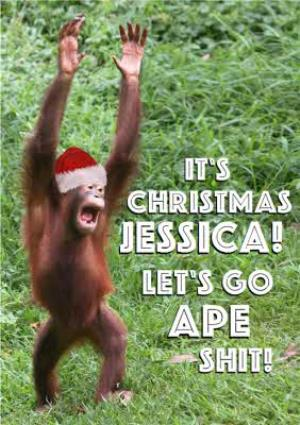 Greeting Cards - Lets Go Ape Sh*T Personalied Christmas Card - Image 1