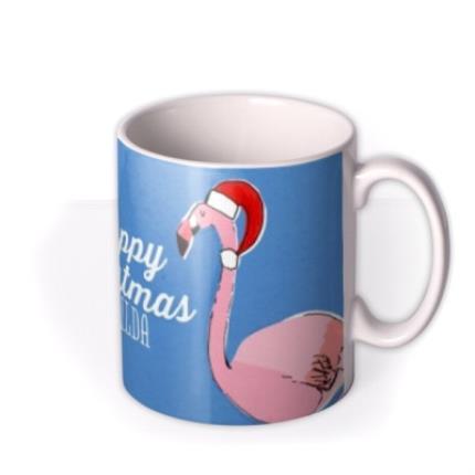 Mugs - Merry Christmas Flamingo Personalised Mug - Image 2