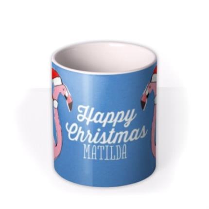 Mugs - Merry Christmas Flamingo Personalised Mug - Image 3