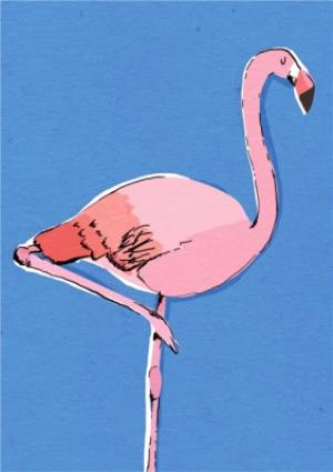 Greeting Cards - Illustrated Bright Pink Flamingo Card - Image 1