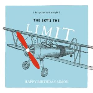 Greeting Cards - Birthday Card - The Sky's The Limit - Plane - Plane And Simple - Image 1