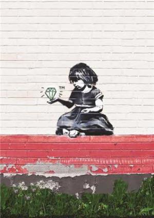 Greeting Cards - Banksy Graffiti Little Girl With Diamond Greetings Card - Image 1