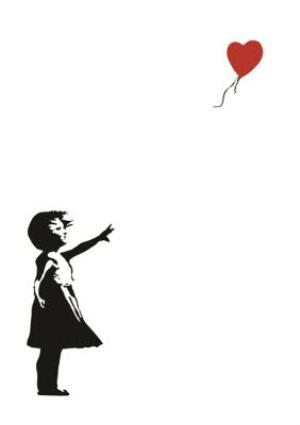 Greeting Cards - Banksy Graffiti Girl With Heart Balloon Greetings Card - Image 1