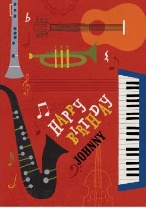 Musical Instruments Personalised Happy Birthday Card