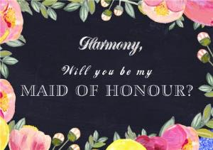 Greeting Cards - In Bloom Border Horizontal Personalised Will You Be My Maid Of Honour Card - Image 1