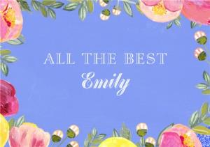 Greeting Cards - All The Best Flower Frame Personalised Text Card - Image 1