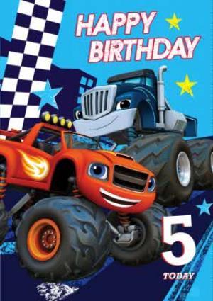 Blaze Trucks Personalised Happy 5th Birthday Card