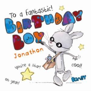 Greeting Cards - Birthday Boy Rabbit Personalised Happy Birthday Card - Image 1