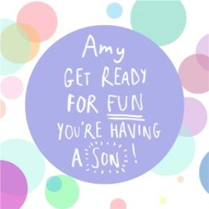 Greeting Cards - Are You Ready For Fun You're Having A Son Personalised Congratulations Card - Image 1
