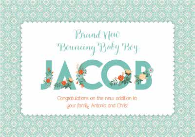 Brand New Bouncing Baby Boy Personalised Congratulations Card Moonpig