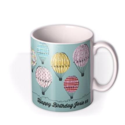 Mugs - Happy Birthday Hot Air Balloons Personalised Mug - Image 2