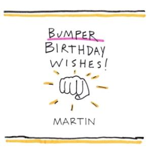 Greeting Cards - Birthday Card - Fist Bump - Bumper Birthday Wishes - Illustration - Image 1