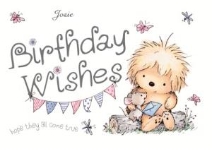 Greeting Cards - Little Hedgehog Wishes Come True Personalised Happy Birthday Card - Image 1