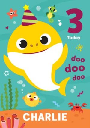 Greeting Cards - Baby Shark song kids 3 today Birthday card - Image 1