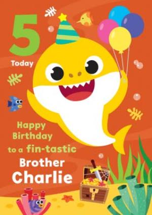 Greeting Cards - Baby Shark song kids 5 today Fin-tastic Brother Birthday card - Image 1