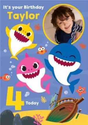 Greeting Cards - Baby Shark song kids 4 today Photo Upload Birthday card - Image 1