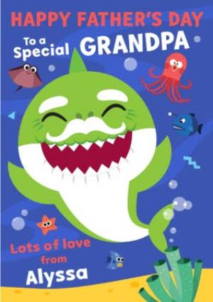 Greeting Cards - Baby Shark Father's Day Card To a Special Granpa - Image 1
