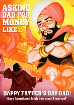 Greeting Cards - Asking Dad For Money Like A Genie Funny Father's Day Card - Image 1