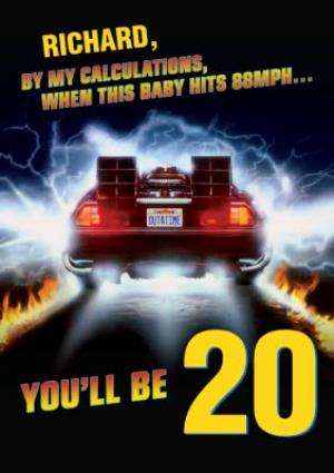 Greeting Cards - Back To The Future When This Baby Hits 88mph personalised 20th Birthday Card - Image 1