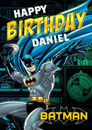 Greeting Cards - Batman In Action Personalised Happy Birthday Card - Image 1