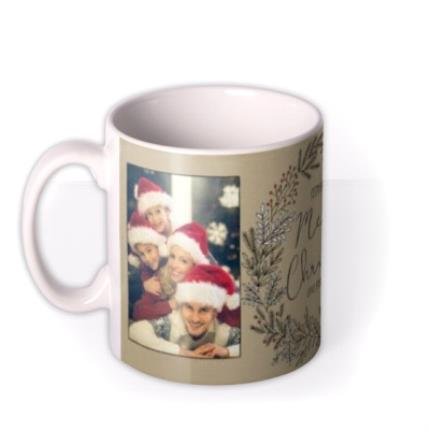 Mugs - Merry Christmas Wreath Photo Upload Mug - Image 1
