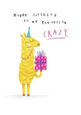 Animal Birthday Card Llama