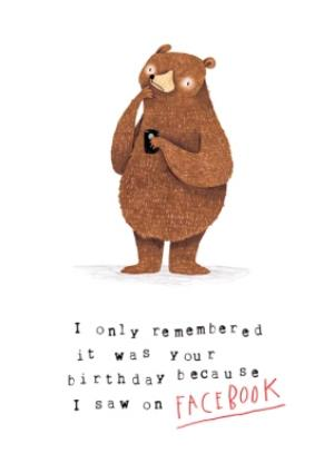 Greeting Cards - Animal birthday card - grizzly bear - facebook - Image 1
