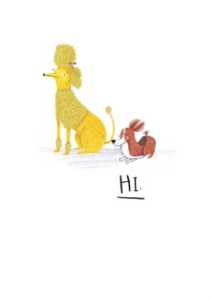 Greeting Cards - Animal birthday card - dogs - poodle - quick card - Image 1