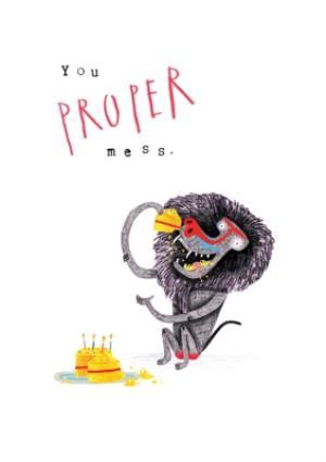 Greeting Cards - Animal birthday card - baboon - birthday cake - quick card - Image 1