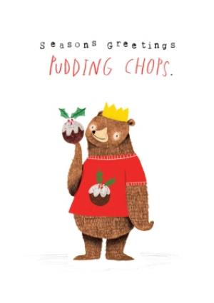 Greeting Cards - Animal christmas card - grizzly bear - christmas jumper - pudding - Image 1