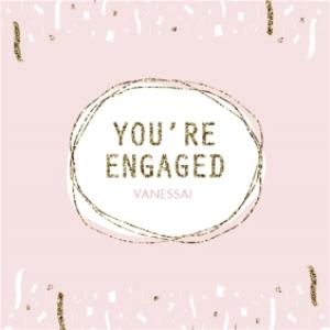 Greeting Cards - Baby Pink Streamers Personalised You're Engaged Card - Image 1