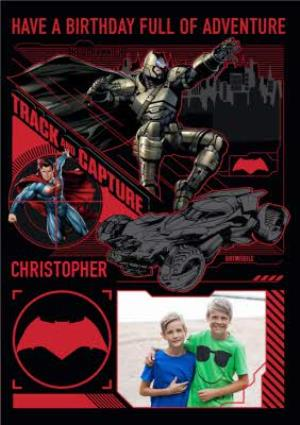 Greeting Cards - Batman And Superman Full Of Adventure Personalised Photo Upload Happy Birthday Card - Image 1