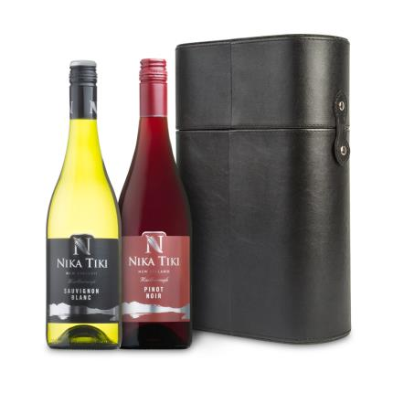 Alcohol Gifts - Faux Leather Wine Duo Gift Set - Image 1