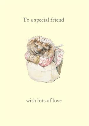 Greeting Cards - Beatrix Potter Mrs Tiggy Winkle Personalised Happy Birthday Card - Image 1