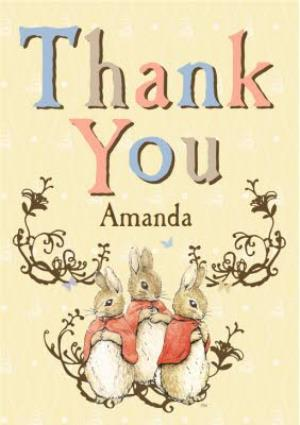 Greeting Cards - Little Bunnies Personalised Thank You Card - Image 1