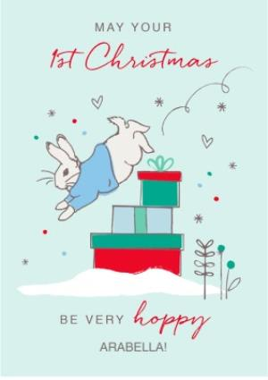Greeting Cards - Beatrix Potter Peter Rabbit Babys First Christmas Personalised Card - Image 1