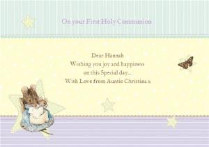 Greeting Cards - Lemon And Mint Little Mouse Personalised On Your First Holy Communion Card - Image 1