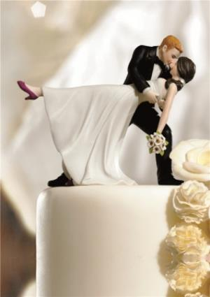 Greeting Cards - Kissing The Bride Cake Topper Wedding Card - Image 1