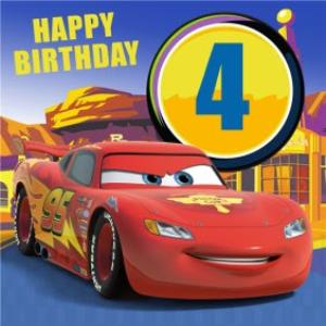 Disney Cars Lightning Mcqueen Personalised Happy 4th Birthday Card