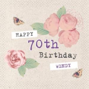 Roses And Butterflies Personalised Happy 70th Birthday Card