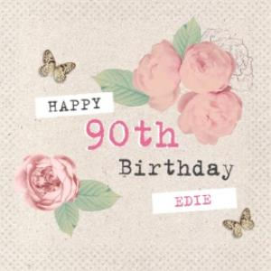 Vintage Roses And Fluttering Butterflies Happy 90th Birthday Card