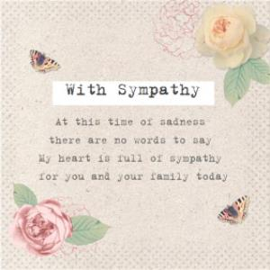 Greeting Cards - At This Time Of Sadness Butterflies And Roses Personalised With Sympathy Card - Image 1