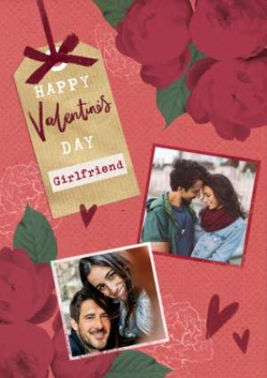 Greeting Cards - Hearts and Flowers Happy Valentine's Day Girlfriend Photo Card - Image 1