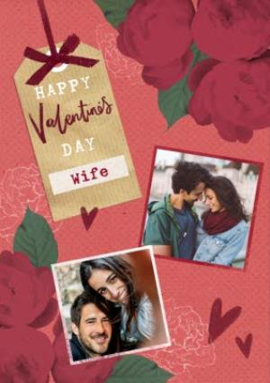 Greeting Cards - Hearts and Flowers Happy Valentine's Day Wife Photo Card - Image 1