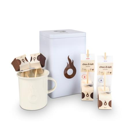 Food Gifts - Choc Au Lait Hot Chocolate Stirrers & Mug Gift Tin - Image 1