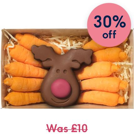 Food Gifts - Choc on Choc Chocolate Reindeer & Carrots - Image 1