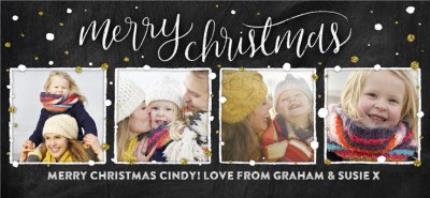 Mugs - Merry Christmas Snow and Glitter Photo Upload Mug - Image 4